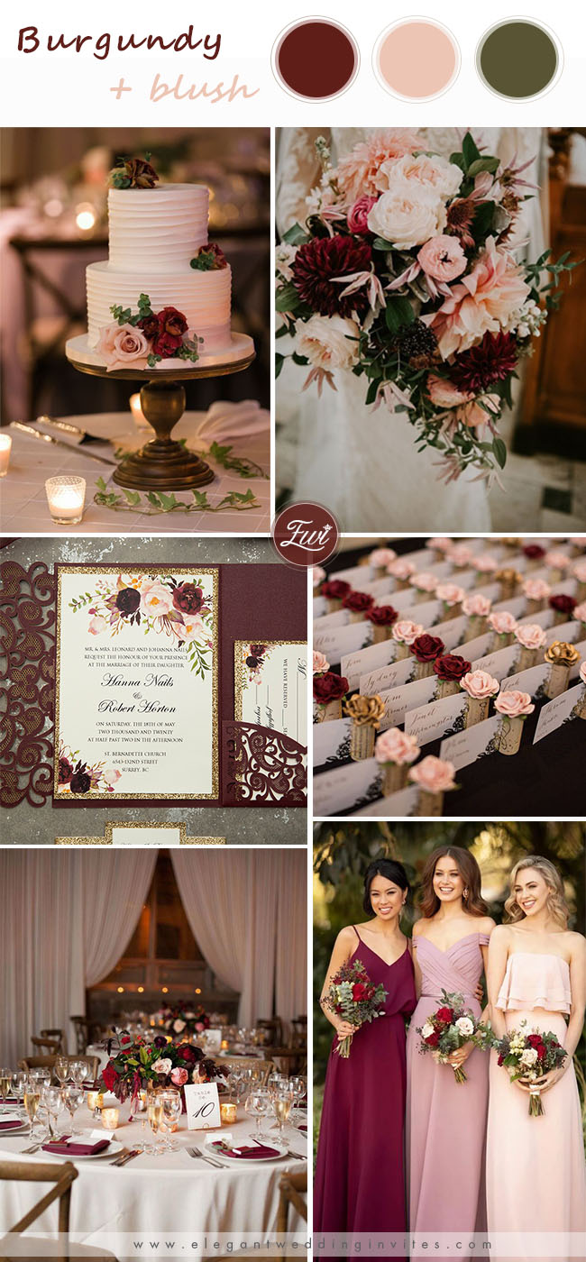 burgundy and blush wedding color inspiration for spring wedding
