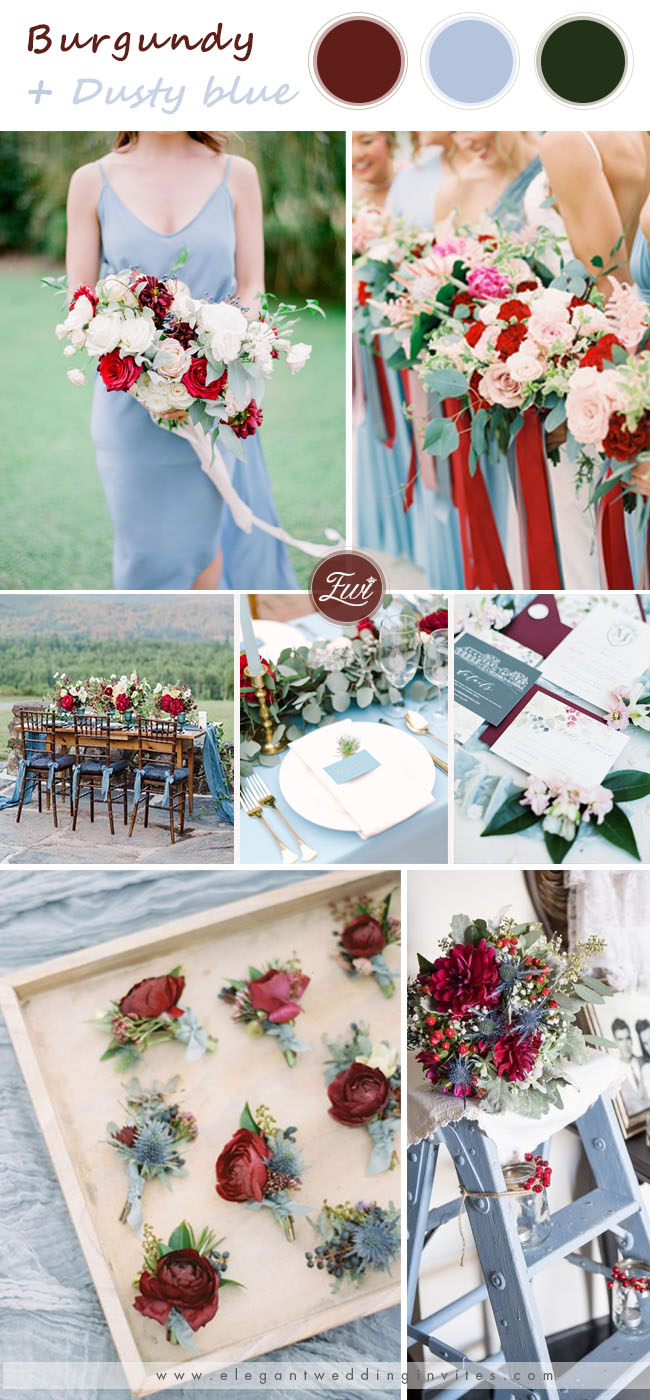 burgundy and dusty blue wedding colors for spring wedding
