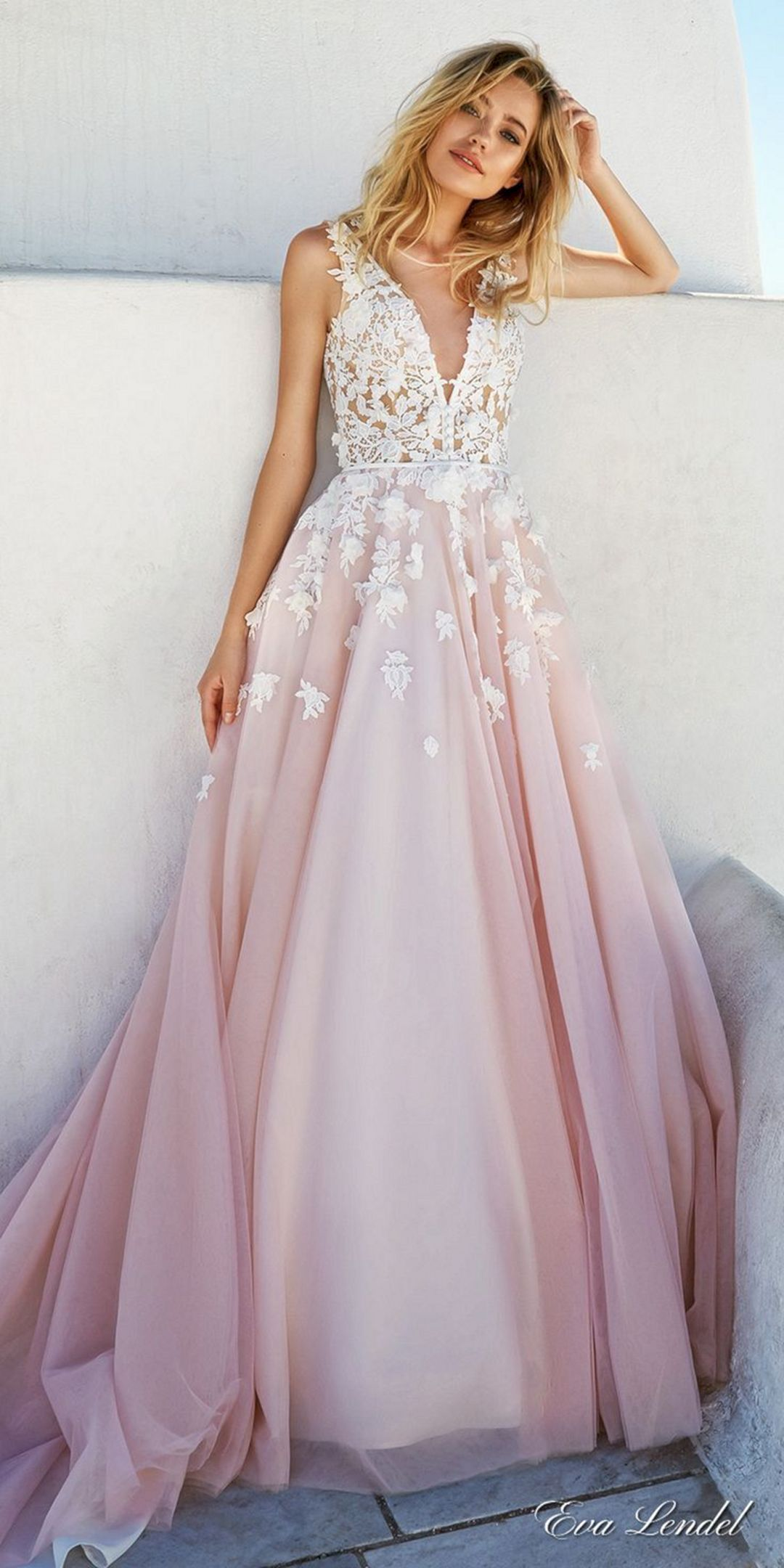 charming deep v- neck appliques blush pink wedding dresses