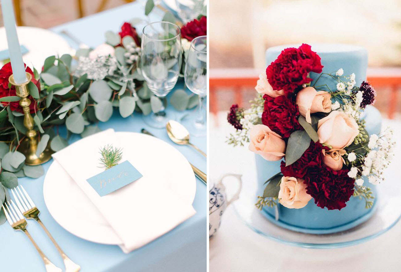 chic dusty rose and burgundy wedding table set and cake decor