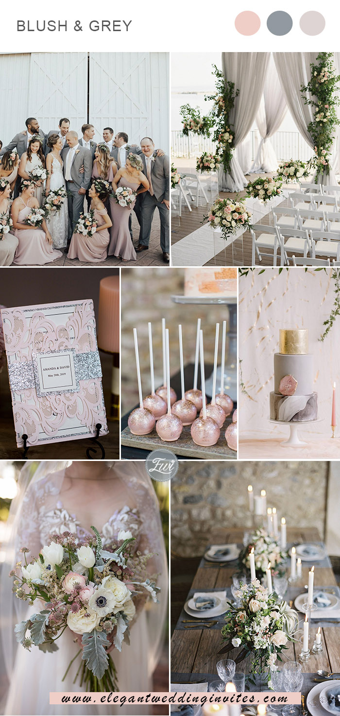 classic blush and grey wedding colors for spring and summer