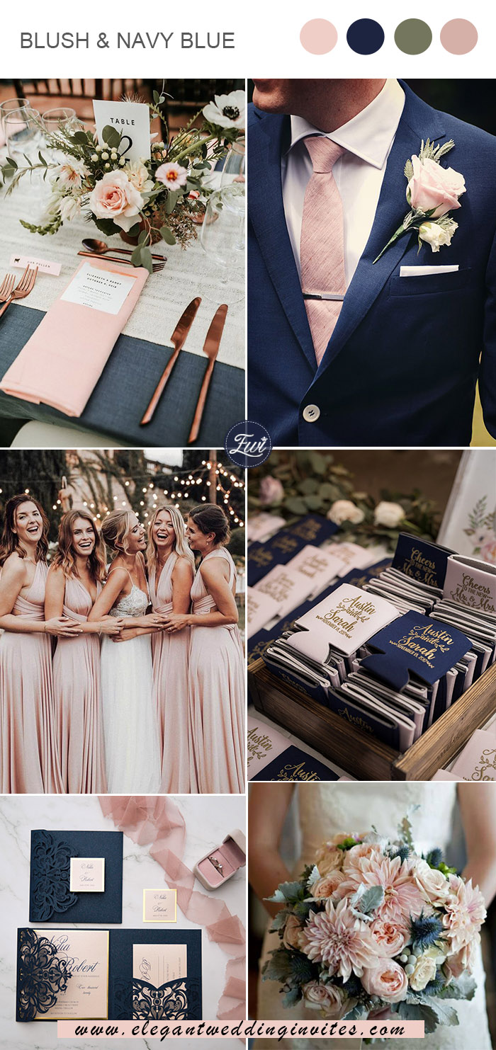 classic blush pink and navy blue chic vintage wedding colors