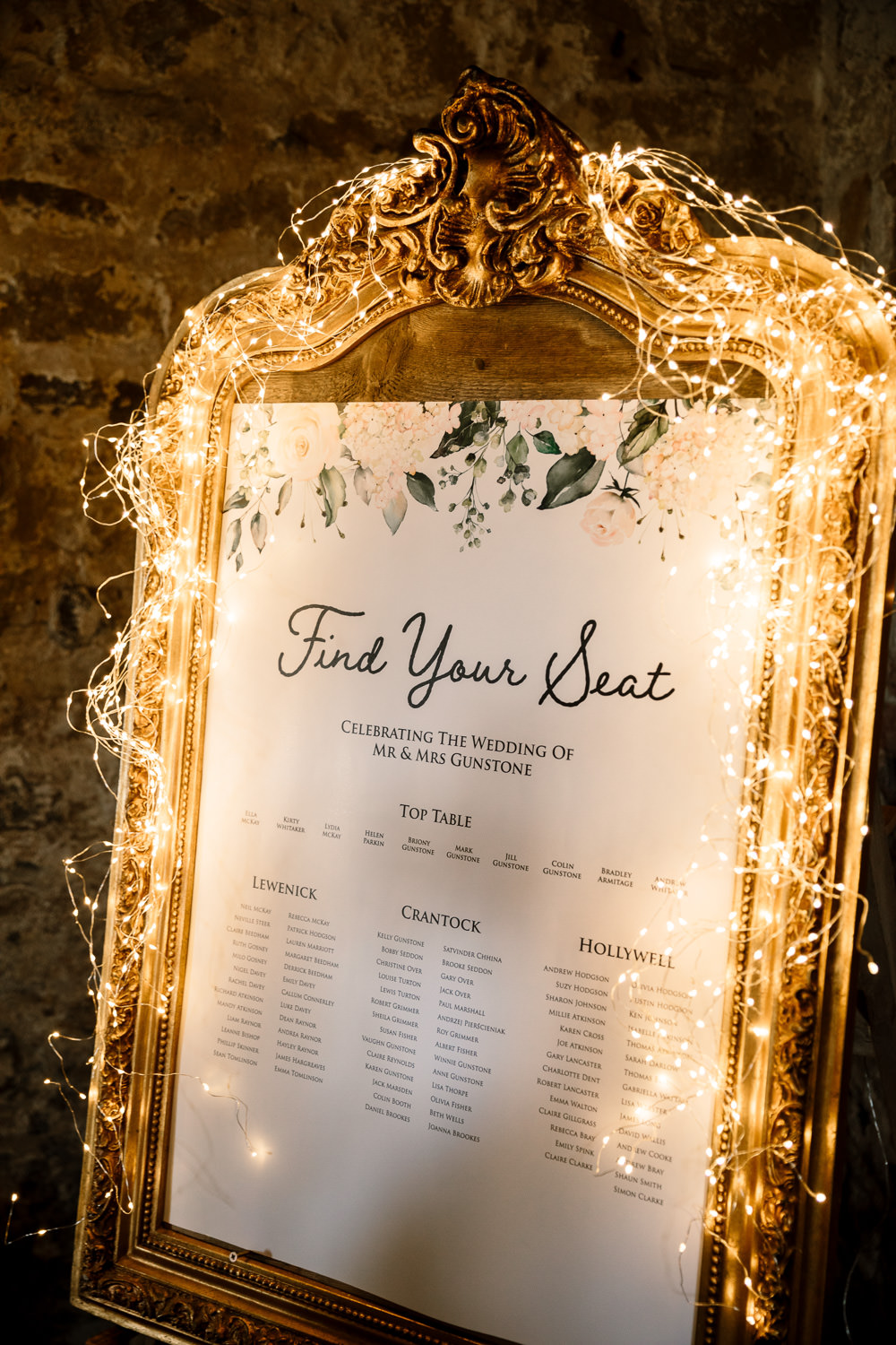 clever wedding signs ideas with string lihts decoration