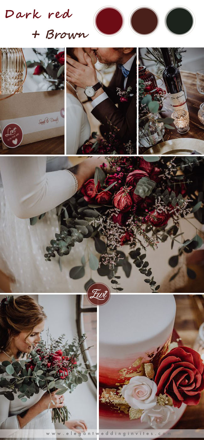 dark red and brown wedding color ideas for winter wedding
