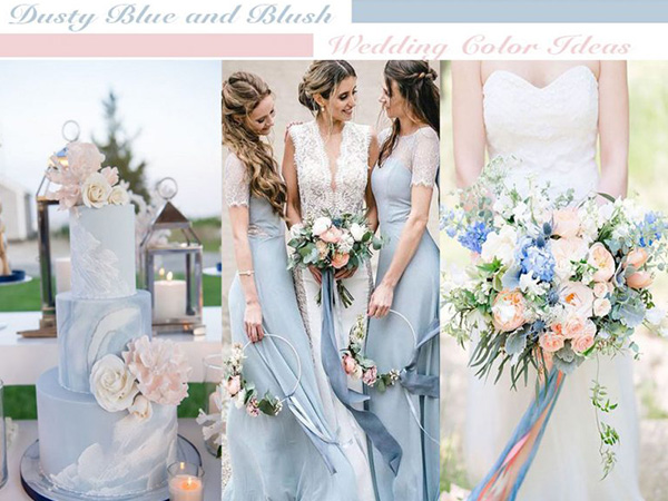 dusty blue and blush color theme wedding ideas