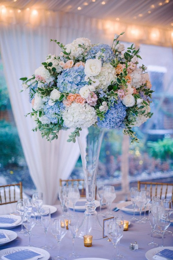 dusty blue and blush pink tall wedding centerpieces