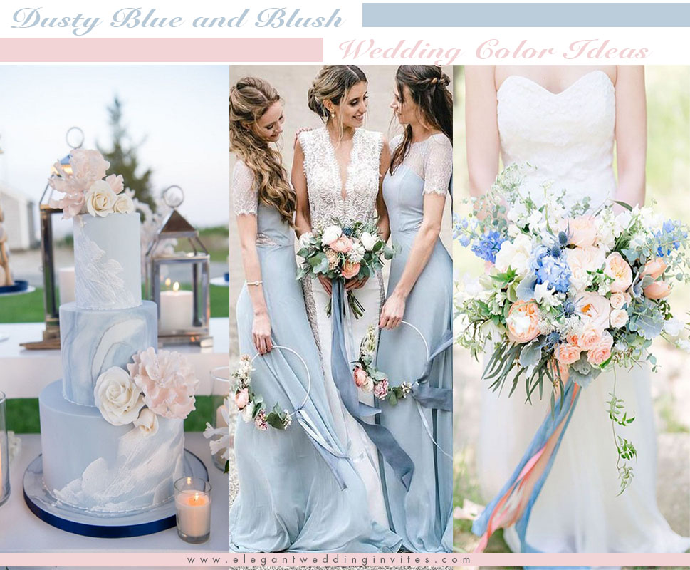 dusty blue and blush wedding color ideas