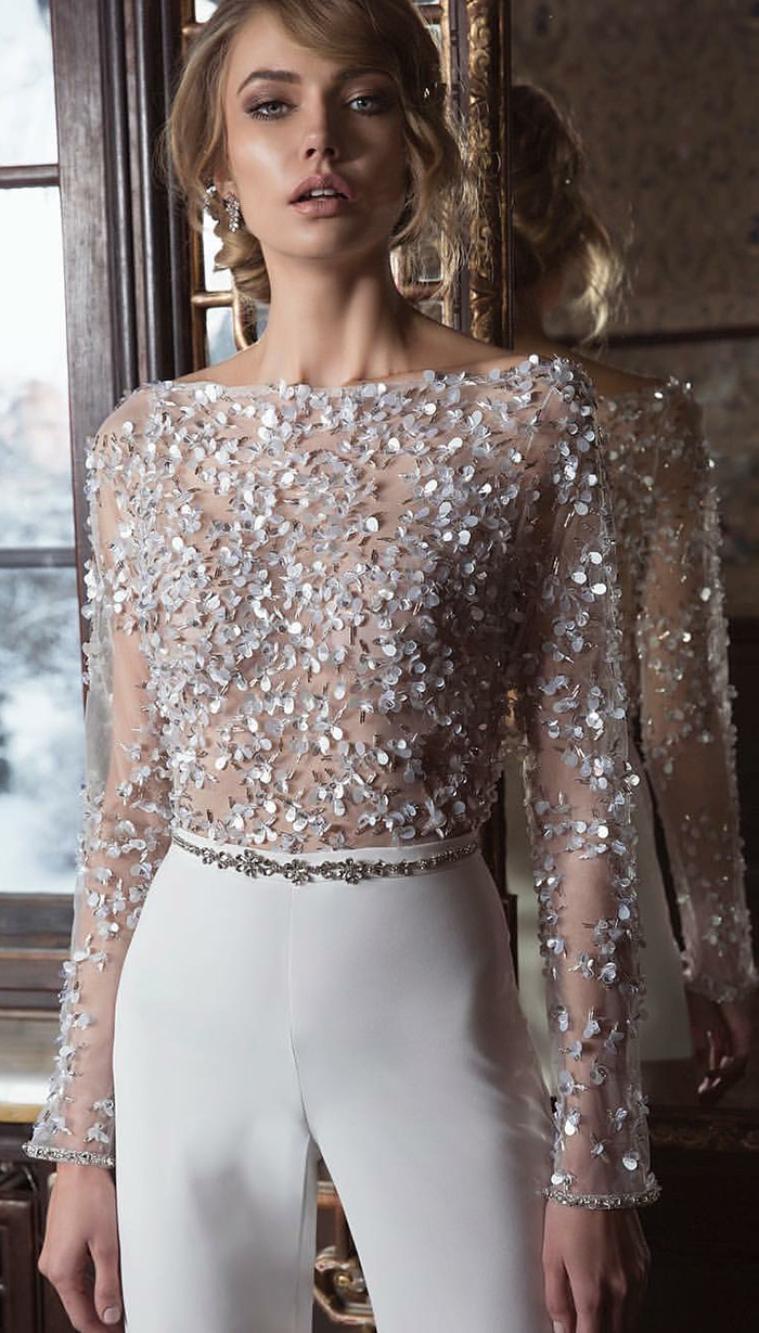 elegant modern bridal jumpsuit with embellished top
