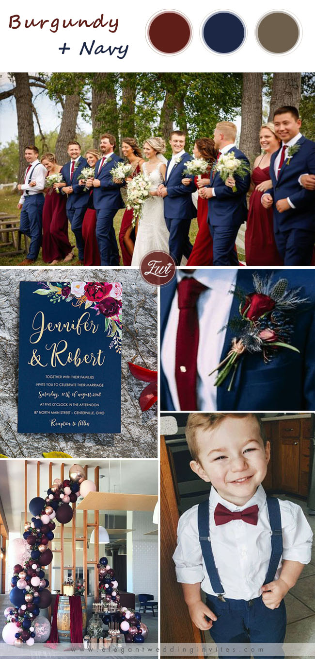 elegant navy blue and wine red wedding color ideas