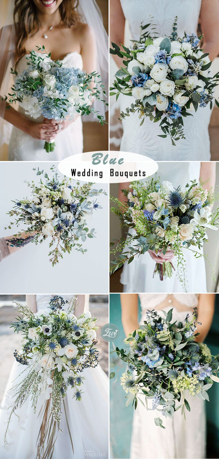 elegant something blue bridal bouquets for spring and summer weddings