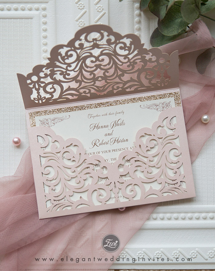 elegant wedding invites in blush and rose gold glitter