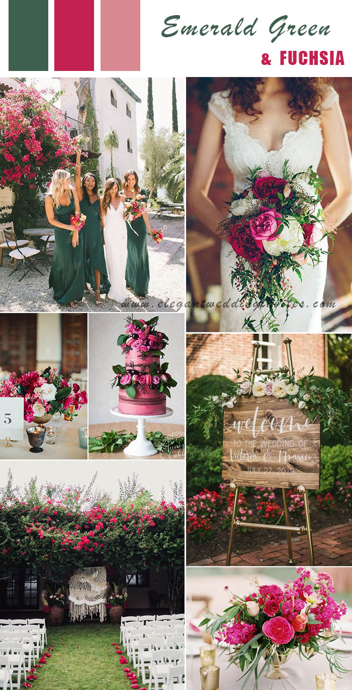 emerald green and fuchsia pink spring and summer backyard wedding colors
