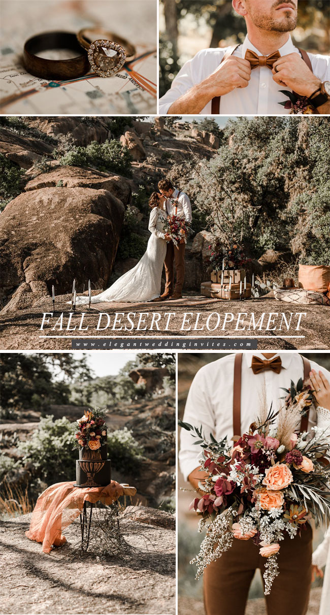 fall desert elopement wedding color inspiration