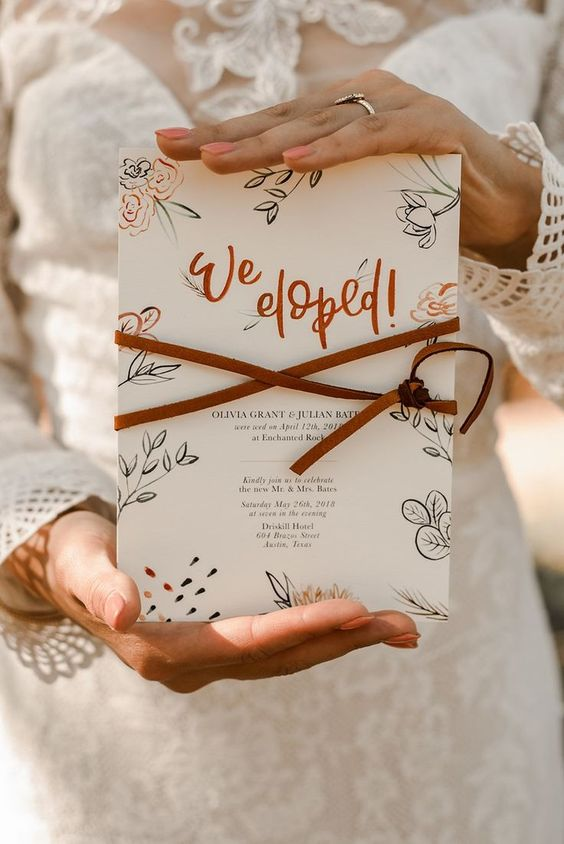 fall desert elopement wedding ideas for wedding invitations