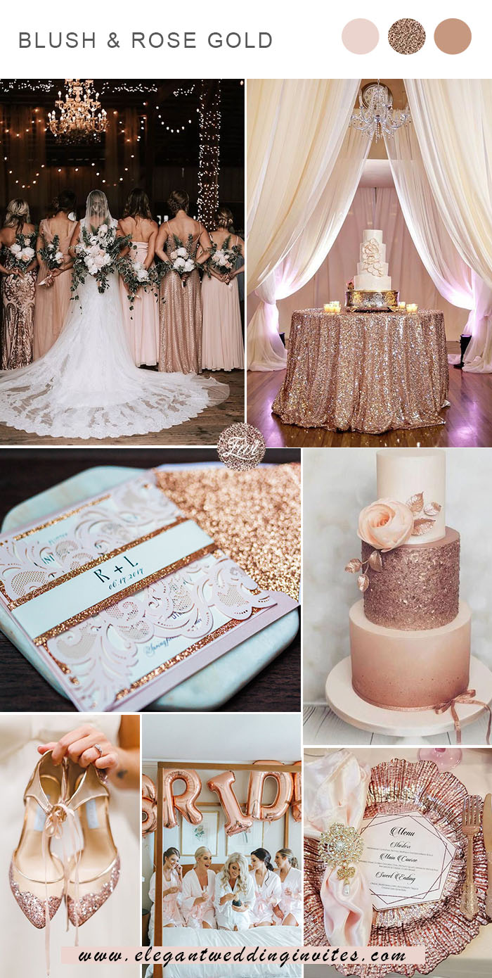 glamorous blush and rose gold weddig colors