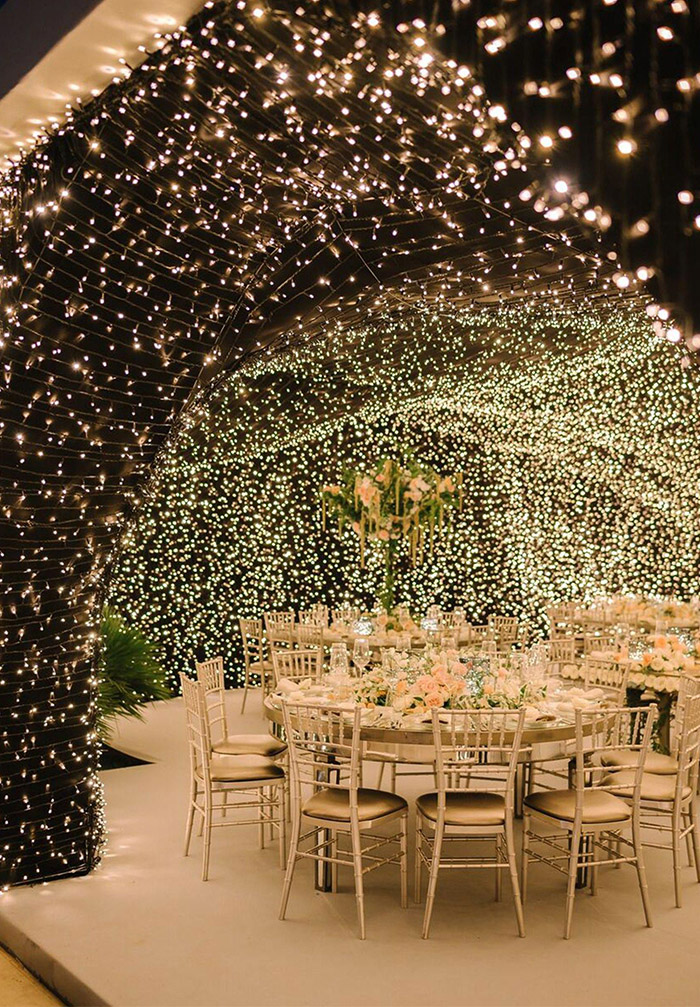 glamorous indoor wedding reception ideas with starry lights