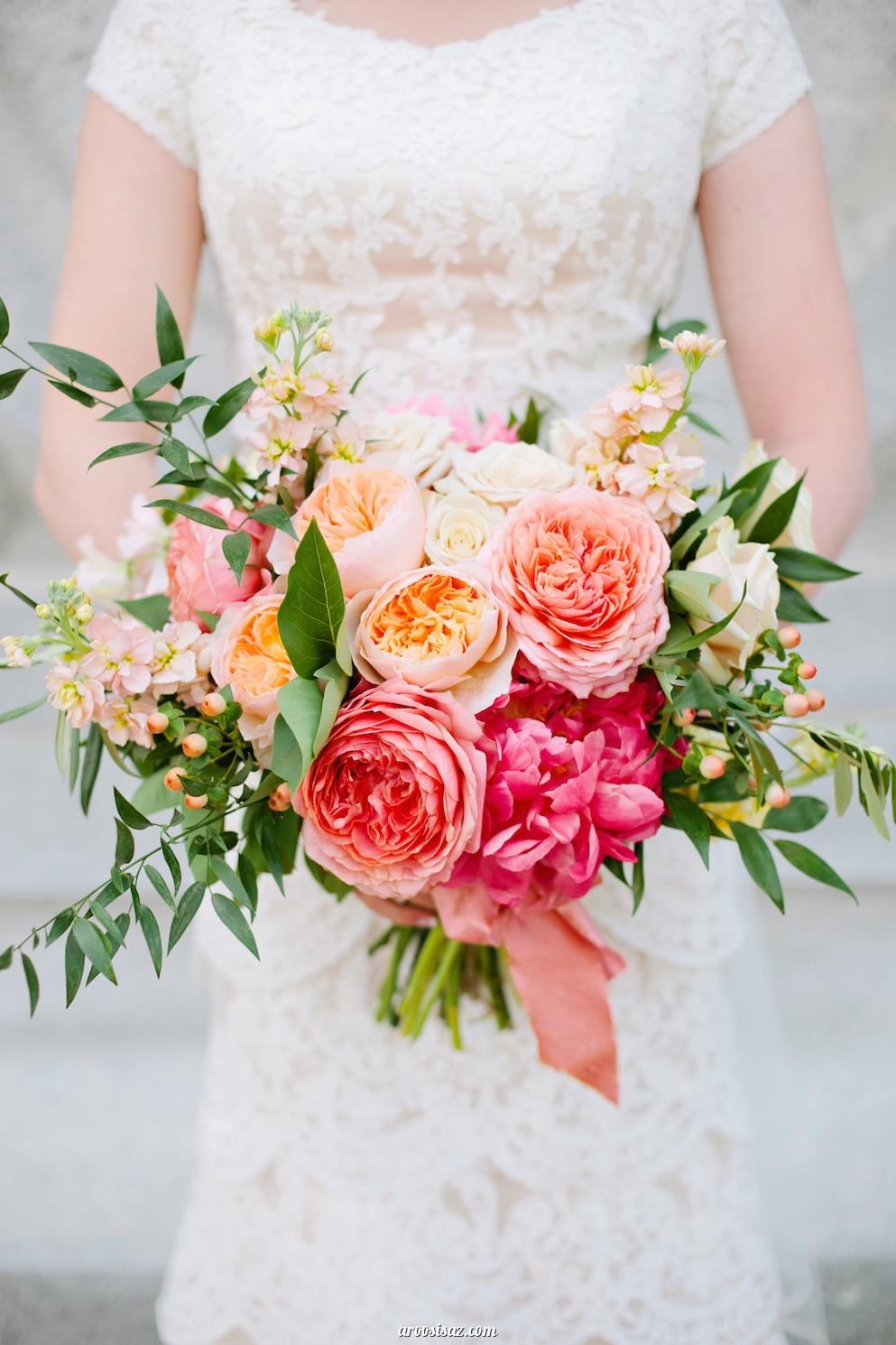 gorgeous colorful peony summer wedding bouquets