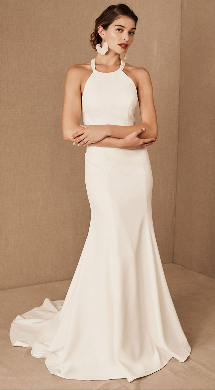 halter neck miimalist modern wedding dresses