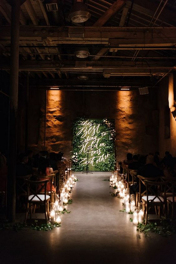 impressive industrial greenery board wedding altar and aisle decoration ideas with candle lights