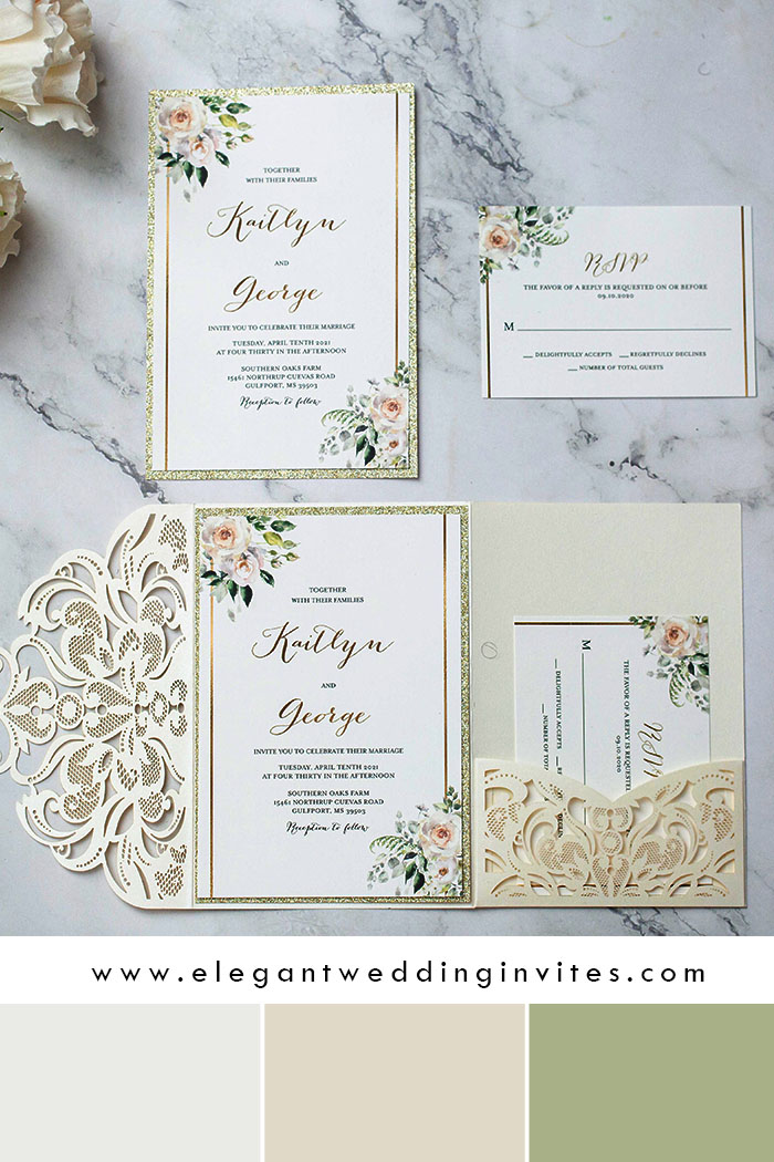ivory and champagne white laser cut wedding invitations
