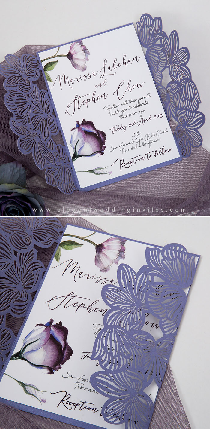lavender shades calligraphy wedding invitations