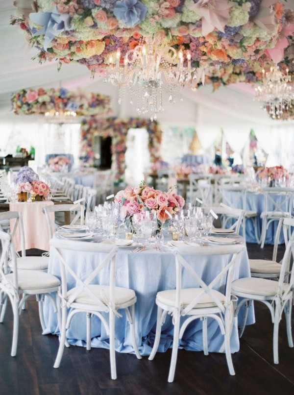 light blue and blush pink wedding table ideas
