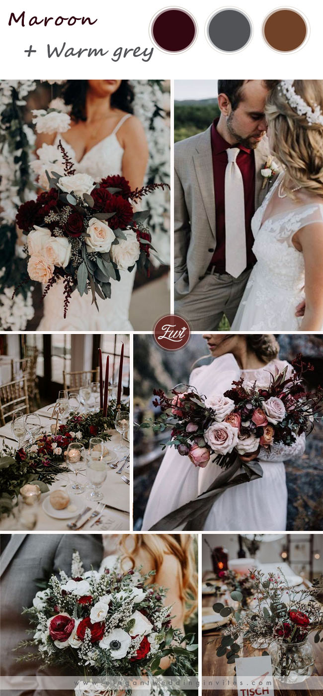 maroon and grey wedding color ideas for fall wedding