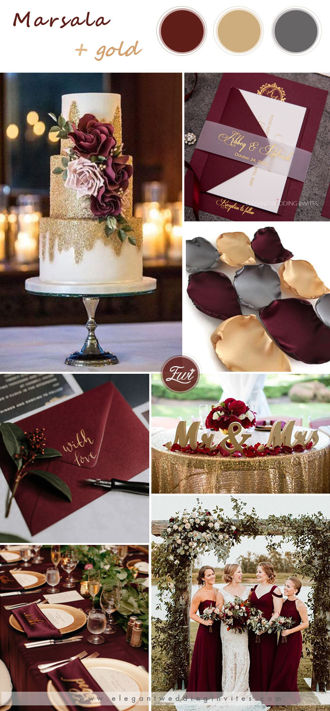 marsala and gold wedding colors for summer wedding