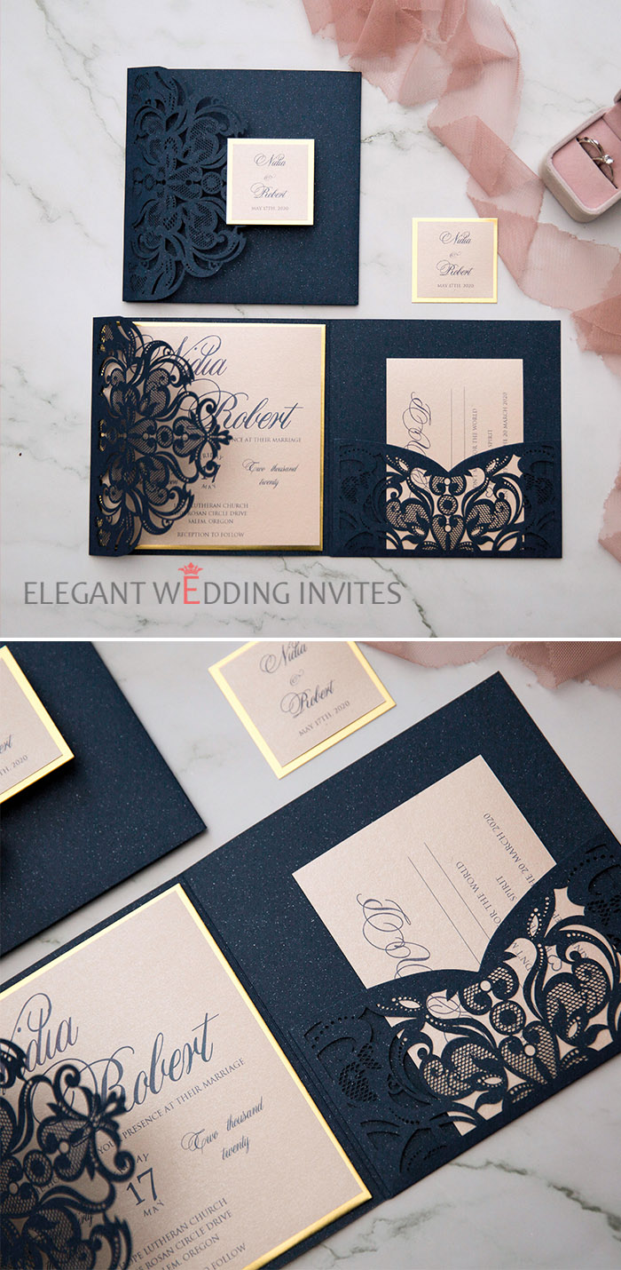 modern dark navy and blush laser cut wedding invites with shimmer backer