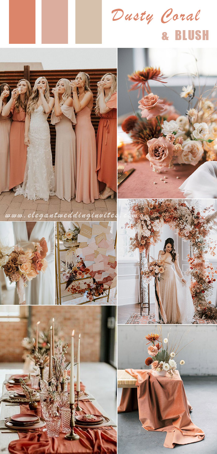 modern dusty coral and blush wedding inspiration