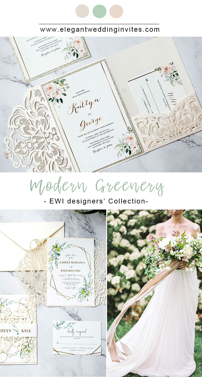 modern geometry greenery garden inspired laser cut wedding invitations for spring