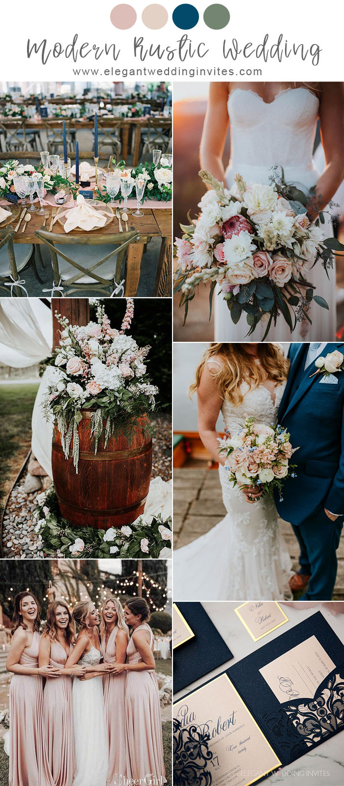 modern rustic blue and light pink outdoor garde wedding color ideas