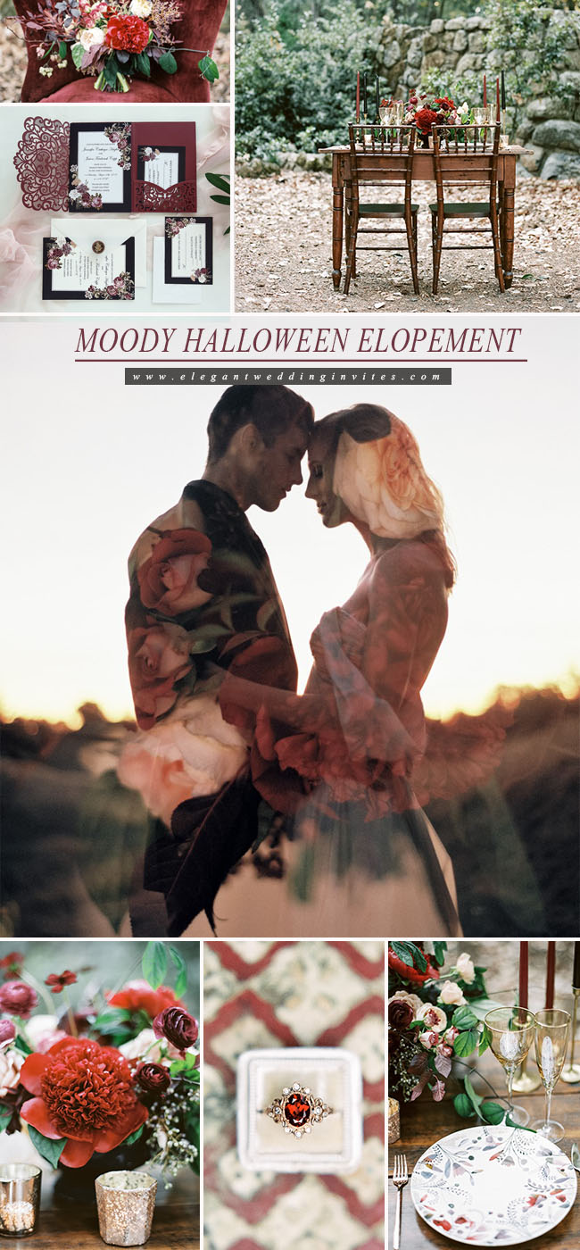 moody halloween modern vintage style elopement inspiration