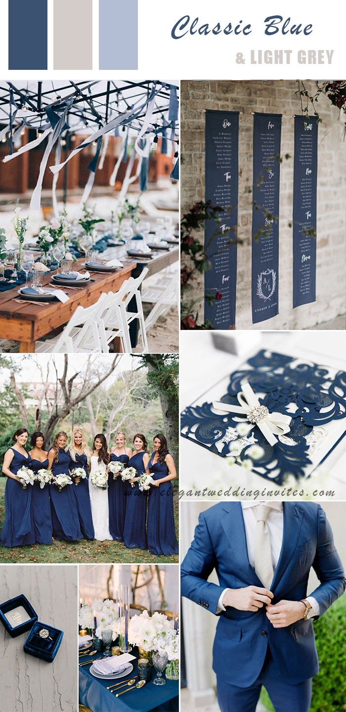 pantone classic blue and light grey wedding color ideas