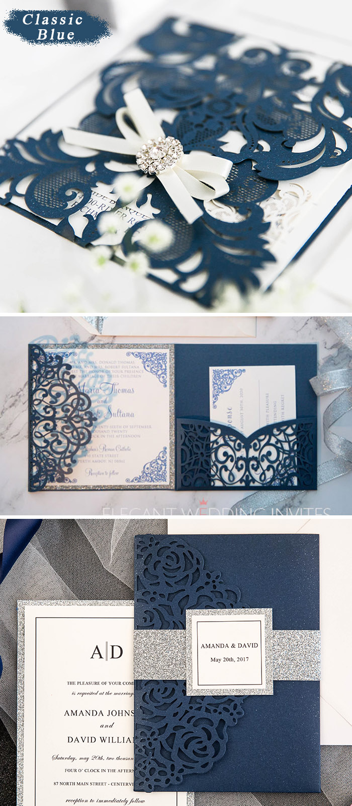 pantone classic blue laser cut wedding inviattions