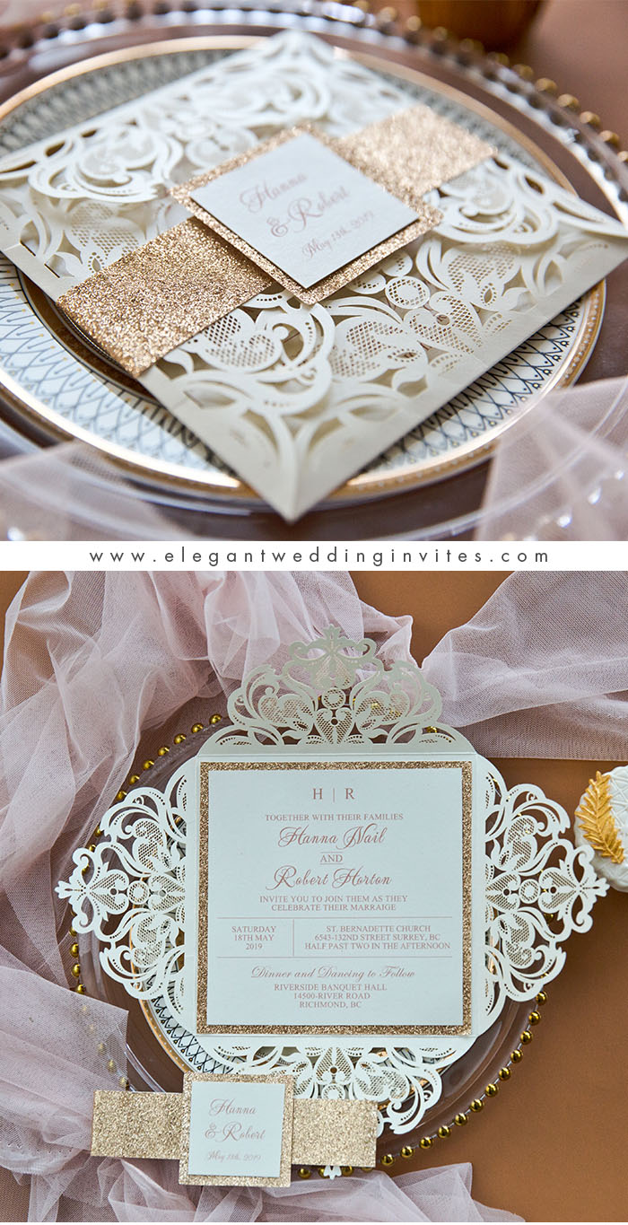 popular rose gold and ivory laser cut belly banded wedding invites