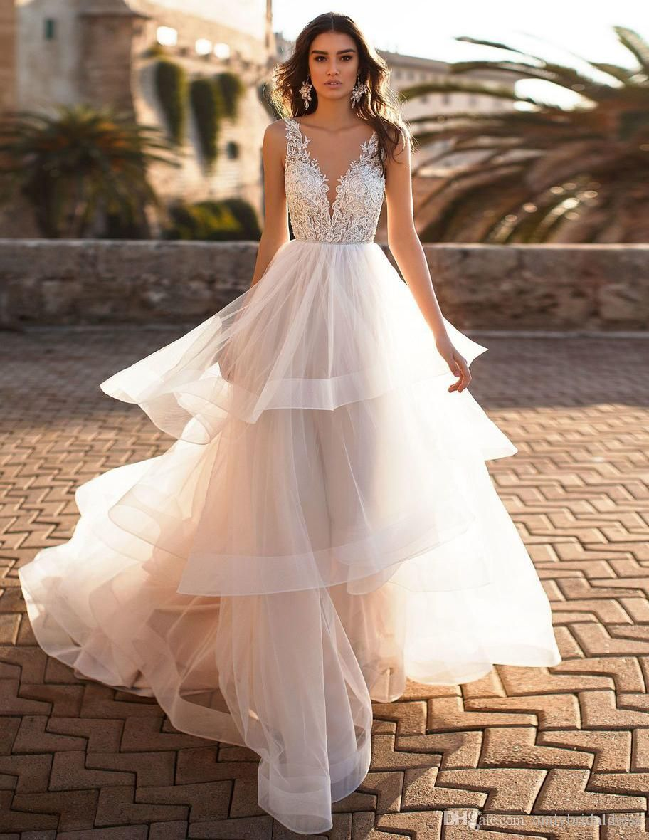 romantic A-line tiered wedding dresses