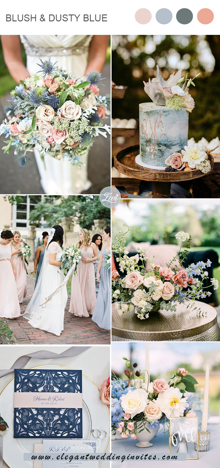romantic blush and dusty blue spring and summer wedding colors