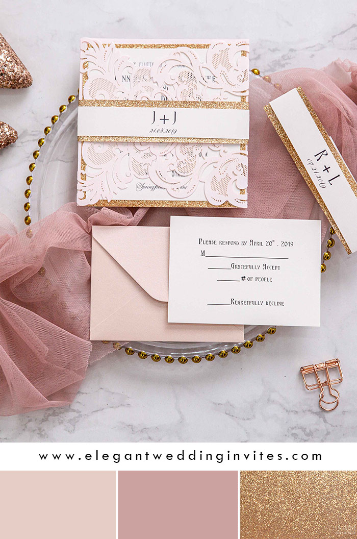 romantic blush and rose gold laser cut spring wedding invitations