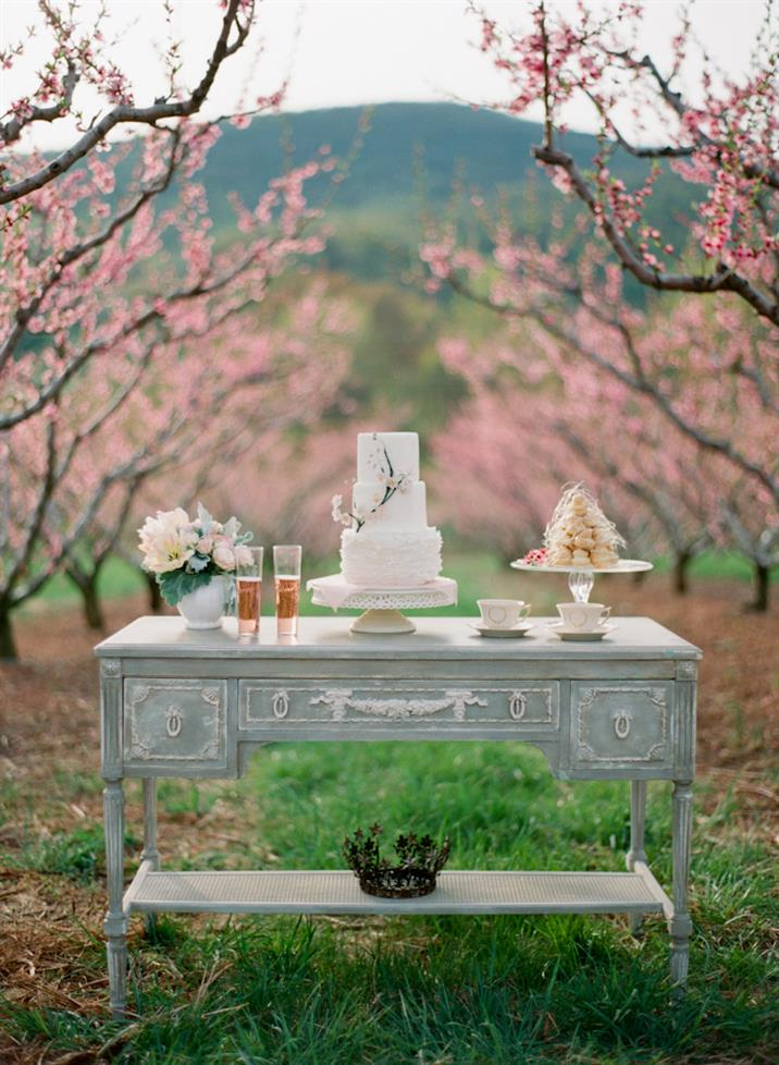 romantic blush spring orchard wedding table setting inspiration