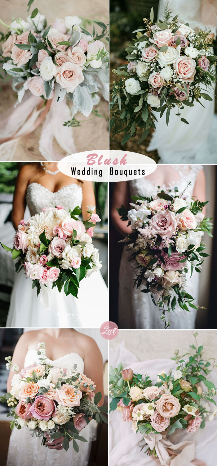 romantic blush wedding bouquet ideas