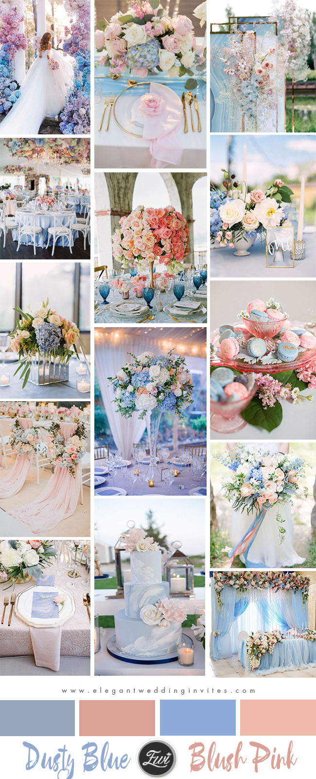 romantic dusty blue and blush pink wedding color inspiration