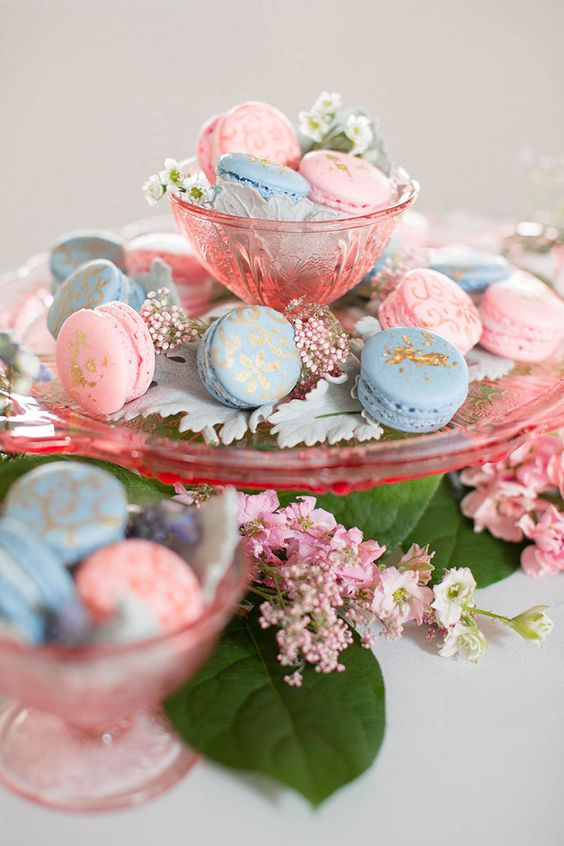 romantic dusty blue and blush wedding macarons ideas