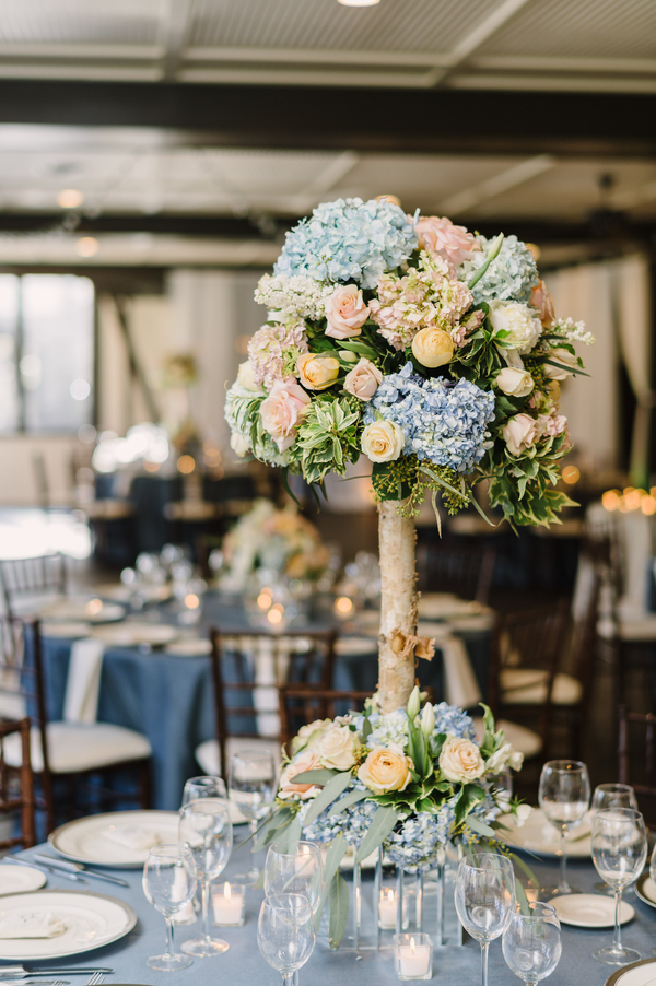 romantic dusty blue wedding table setting ideas for reception