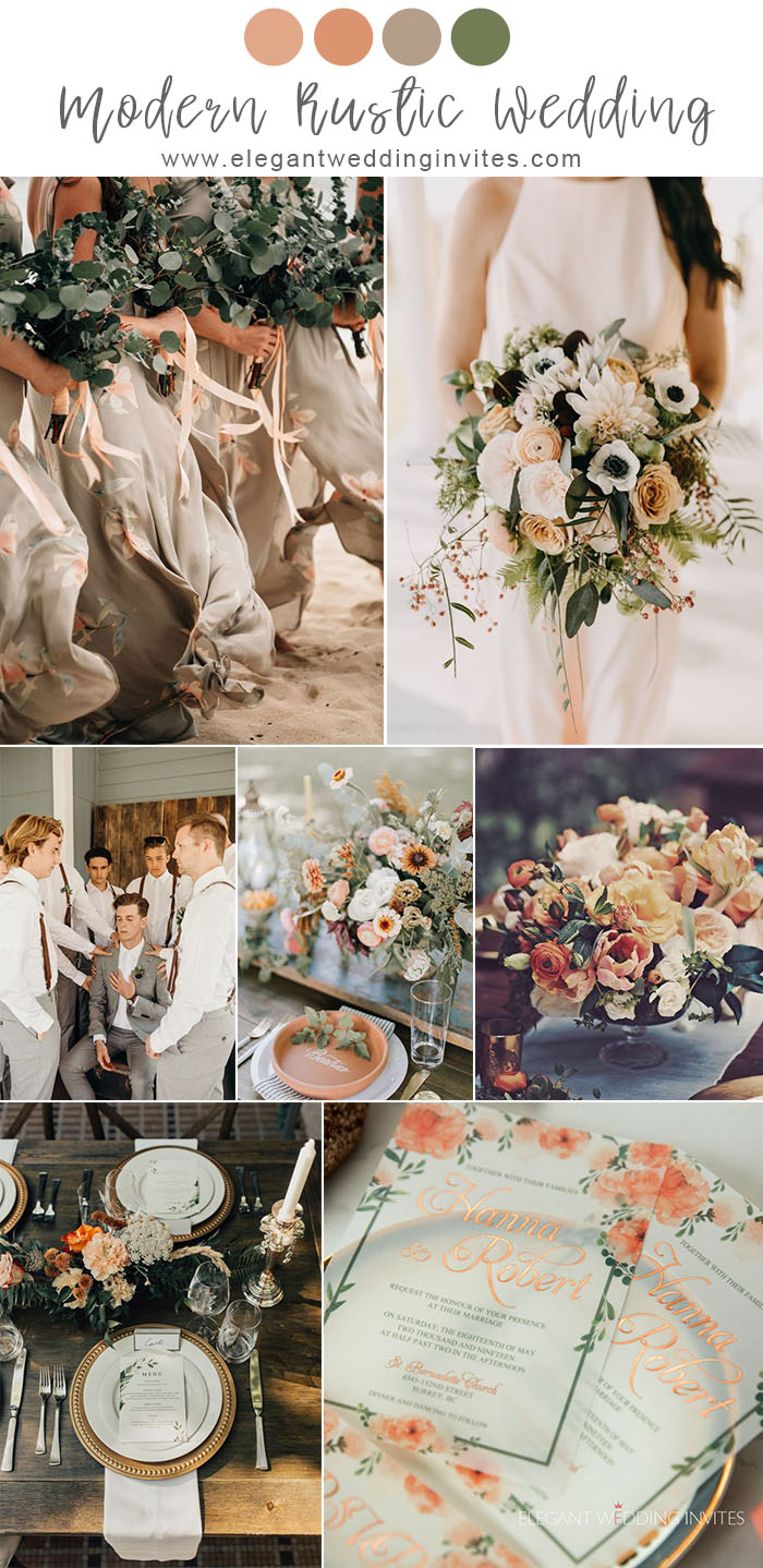 romantic modern rustic chic dusty orange and grey wedding color inspiration