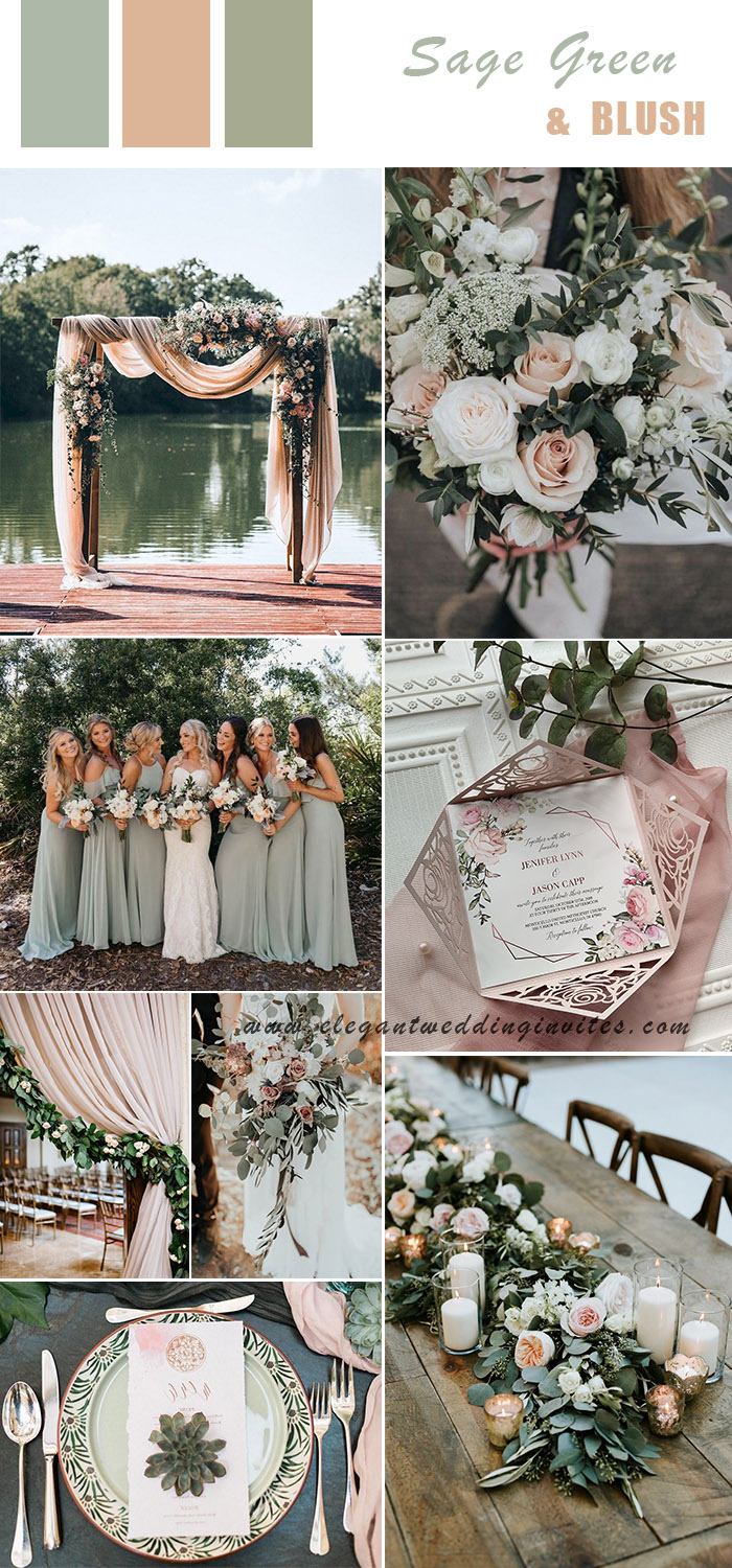 romantic modern rustic sage green and blush wedding colors