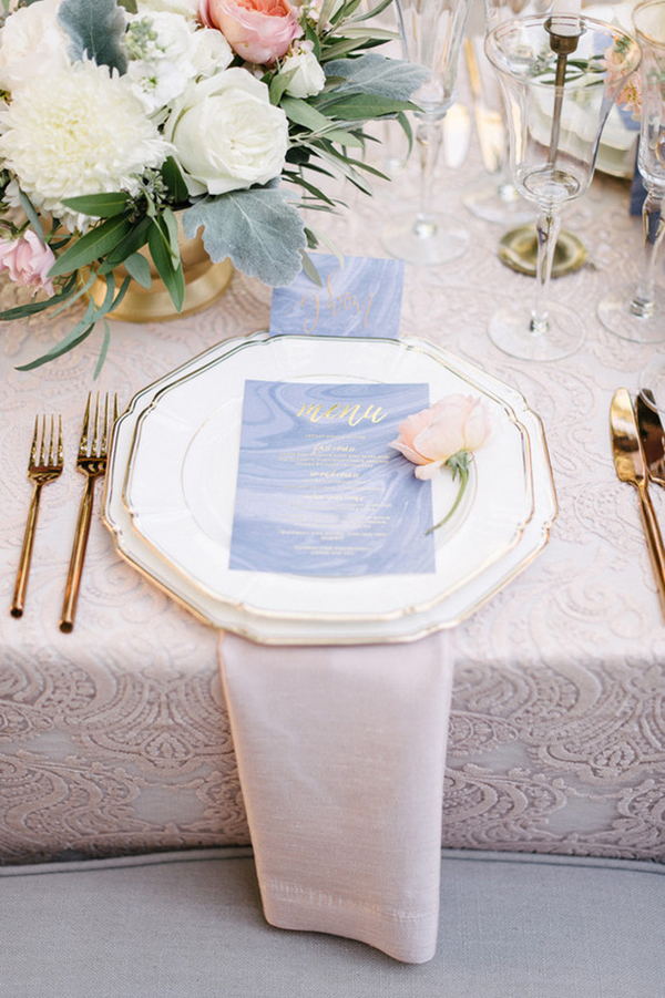 sequin and lace table linens for a pastel place setting