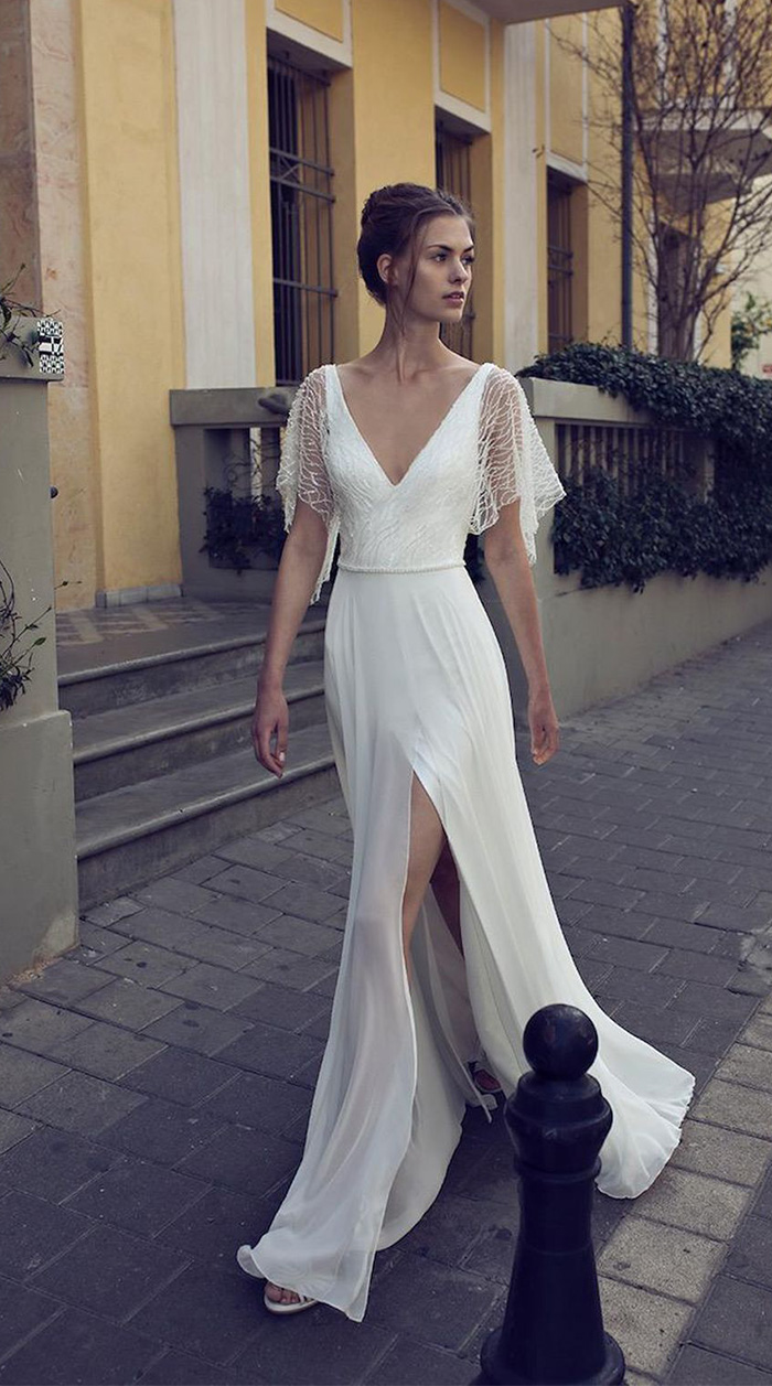 simple and casual split leg bridal dresses with half flutter sleeves