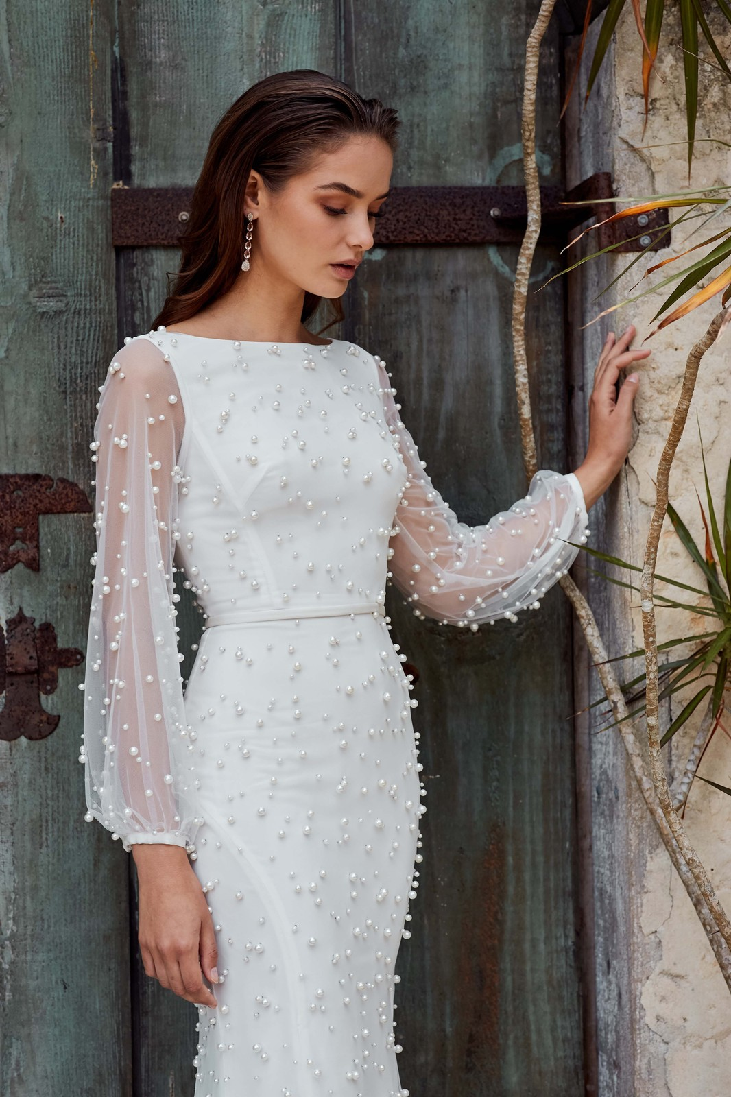 simple and elegant beaded non-traditional bridal gown ideas