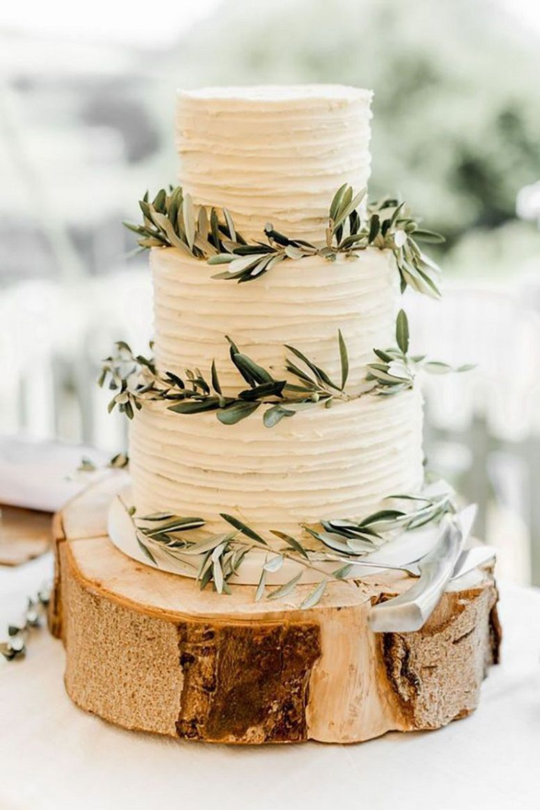 simple and rustic wedding cakes with olive leaves